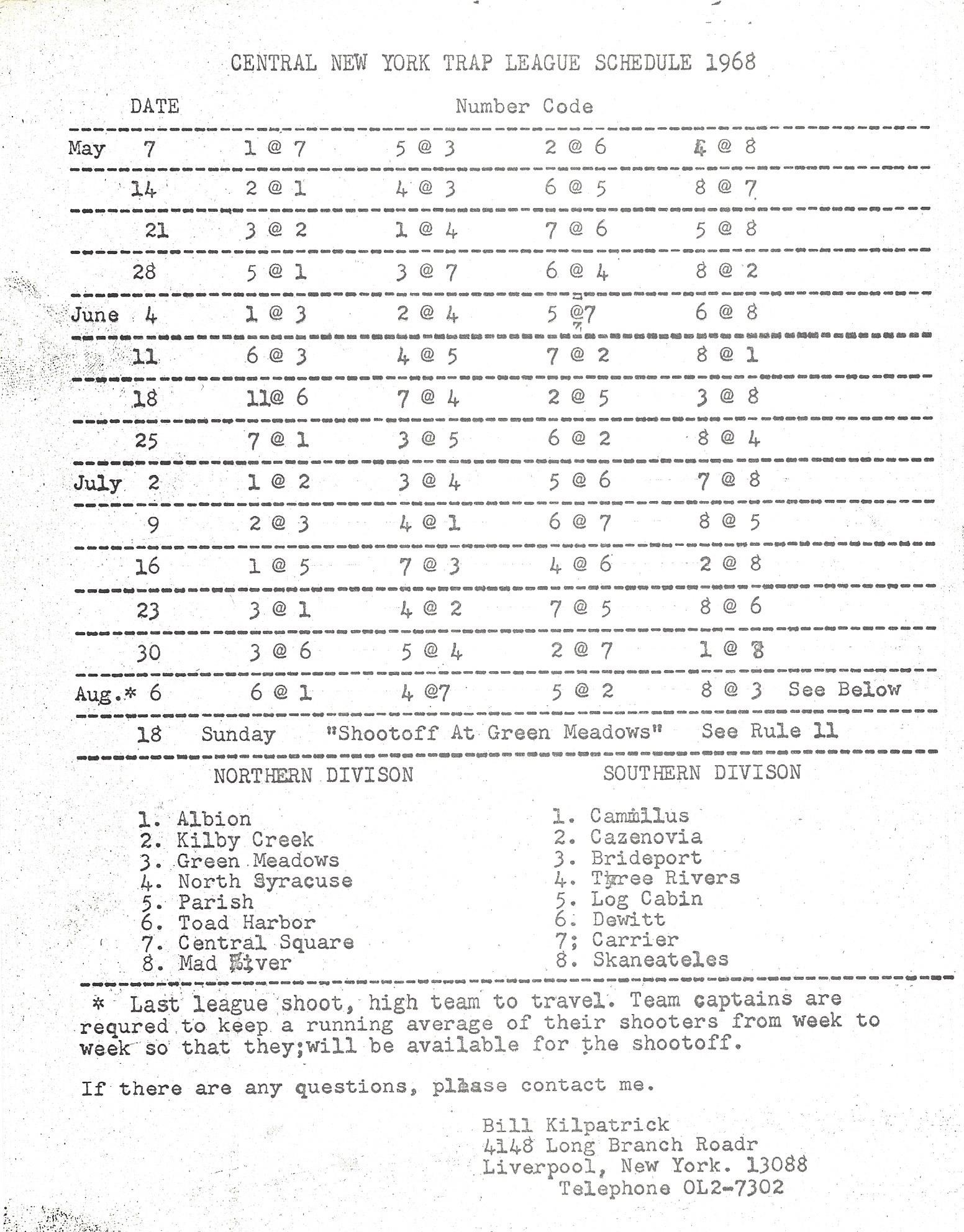 1968 CNYTL Schedule