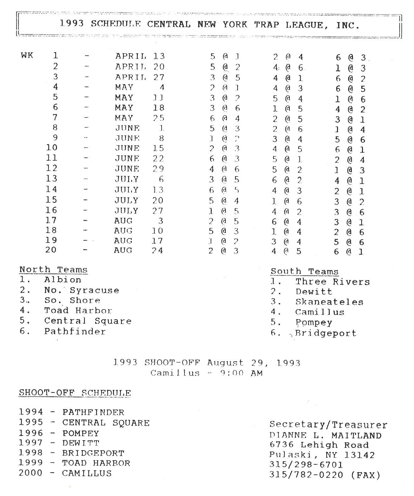 1993 CNYTL Schedule