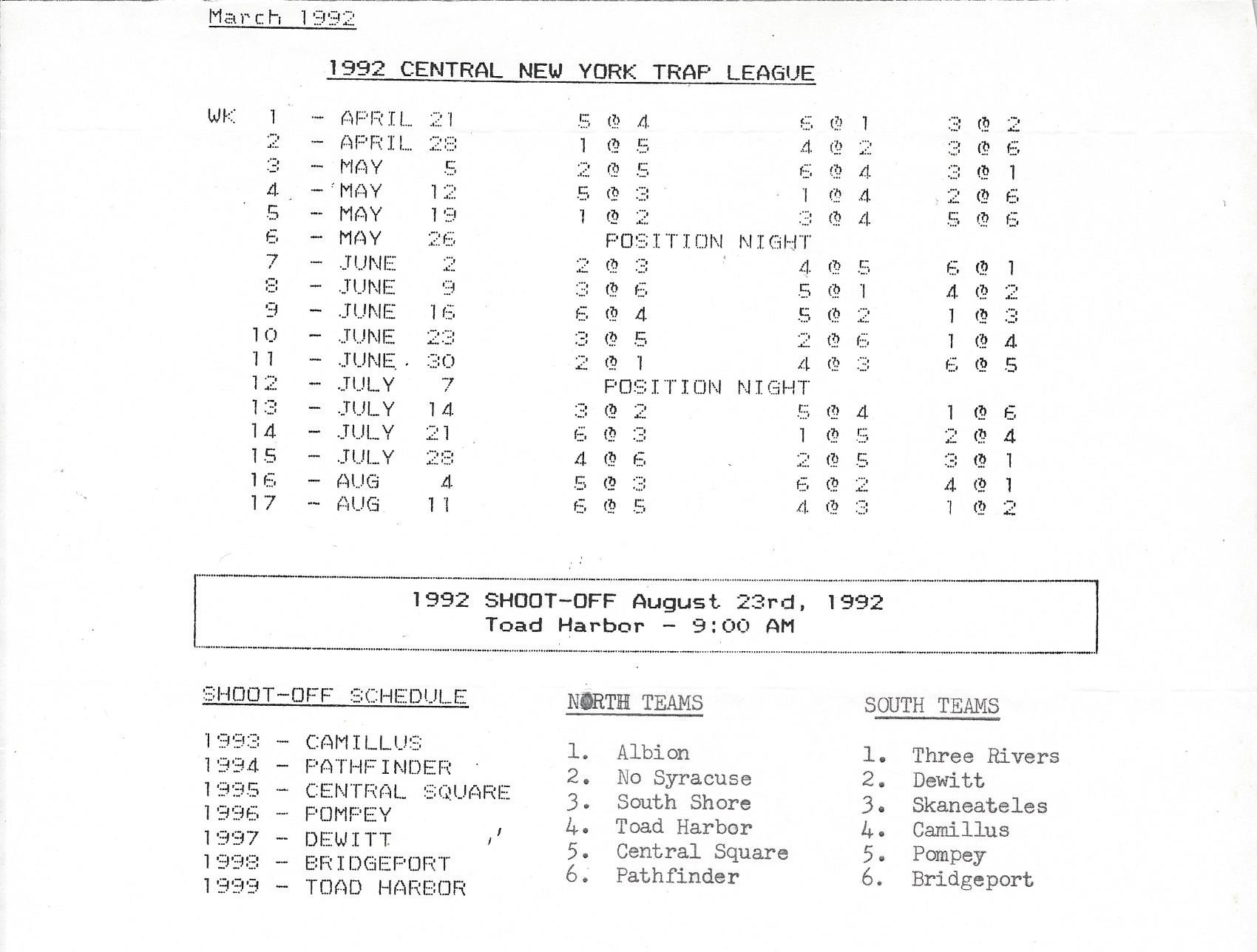 CNYTL SCHEDULE 1992