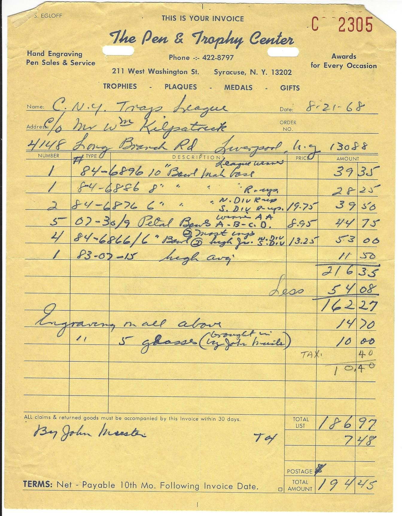 cnytl 1968 trophy invoice